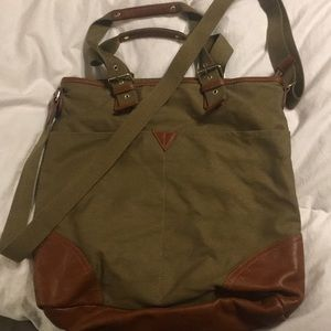 Large dark olive tote with brown accents.